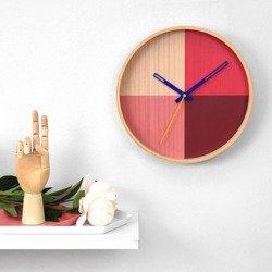 Flor Wall Clock - Birch Wood / Red