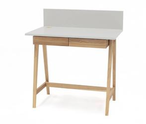 LUKA Ashwood Writing Desk 85x50cm with Drawer / Light Grey