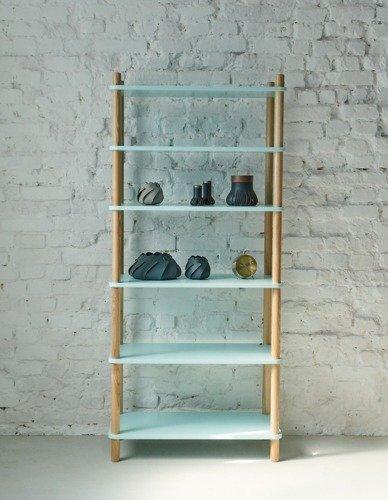 ASHME Bookcase 80x40x165cm - Ashwood / Light Turquoise