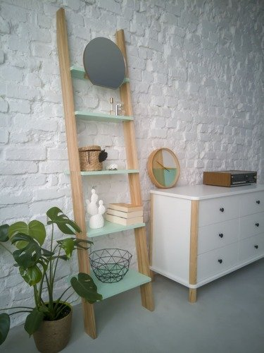 ASHME Ladder Shelf with Mirror 45x35x180cm - Mint