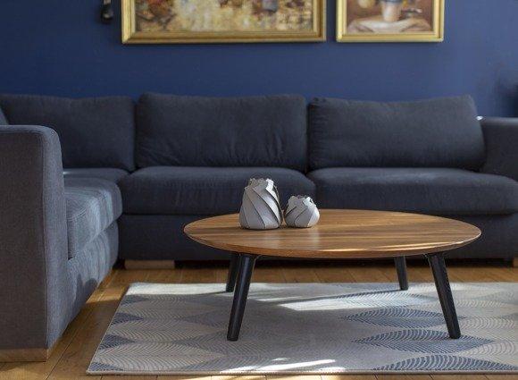 Contrast SLICE Coffee Table 100x31cm Round Black Legs