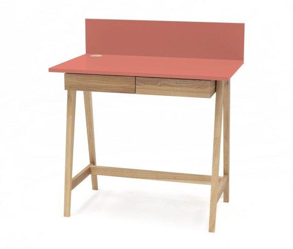 LUKA Ashwood Writing Desk 110x50cm with Drawer / Living Coral