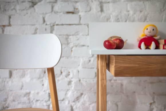 LUKA Ashwood Writing Desk 110x50cm with Drawer / White