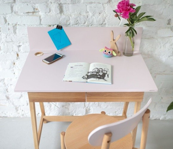 LUKA Ashwood Writing Desk 85x50cm with Drawer / Living Coral