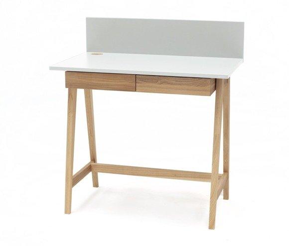 LUKA Ashwood Writing Desk 85x50cm with Drawer / White