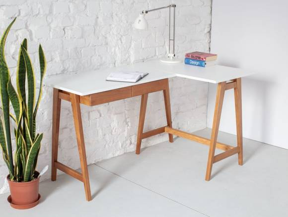 LUKA Corner Desk W 135cm x D 85cm / White Oak Right Side