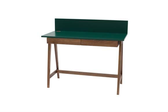 LUKA Writing Desk 110x50cm with Drawer Oak / Bottle Green