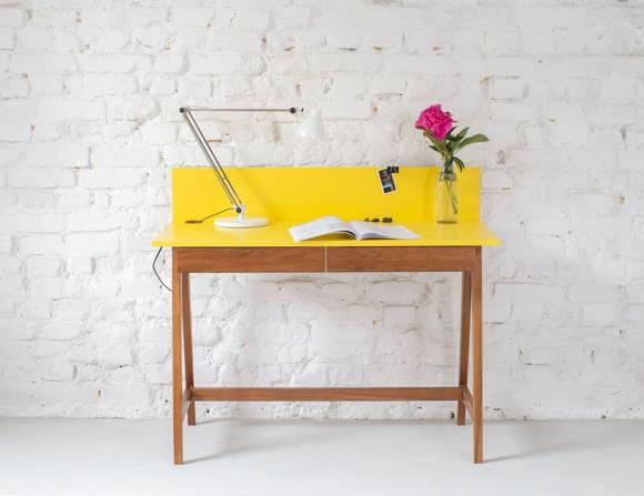LUKA Writing Desk 110x50cm with Drawer Oak / Yellow