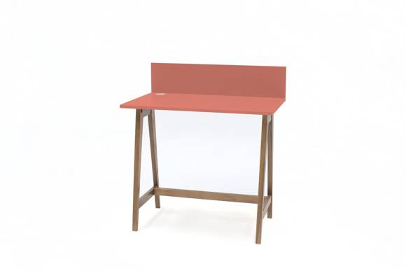 LUKA Writing Desk 85x50cm Oak / Living Coral