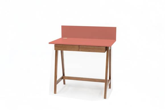 LUKA Writing Desk 85x50cm with Drawer Oak / Living Coral