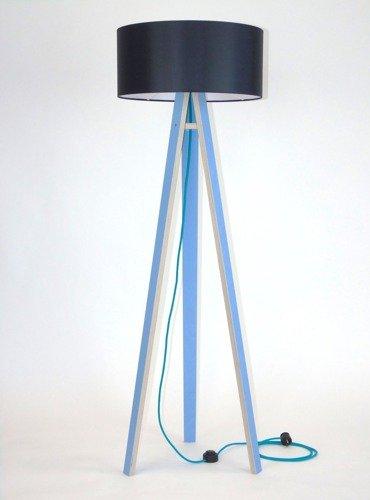 WANDA Floor Lamp 45x140cm - Blue / Black Lampshade / Turquoise