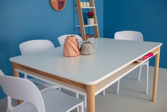 ZEEN Extendable Table with Shelf 200x90x75cm - White