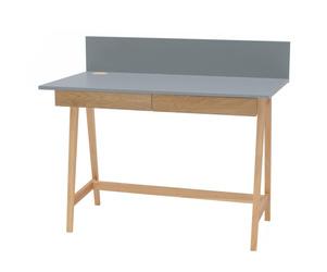Luka Eschenholz Schreibtisch 110x50cm mit Schublade / Dunkelgrau