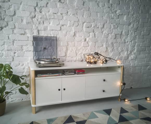 ASHME TV Sideboard 140x45x60cm - Weiß