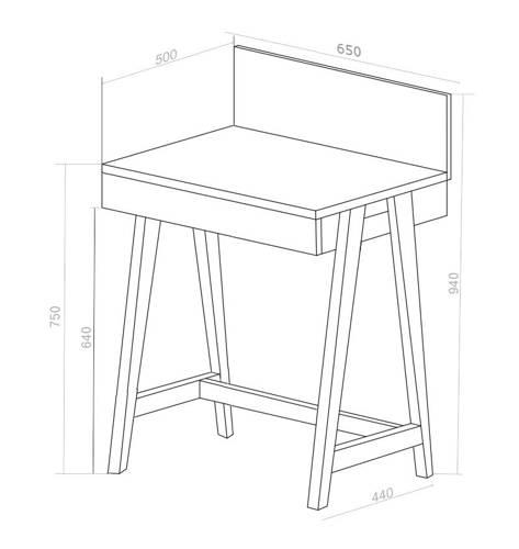 LUKA Schreibtisch 65x50cm mit Schublade Eiche / Weiß