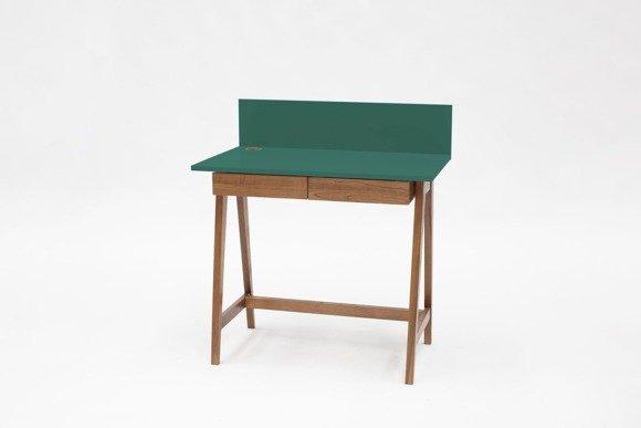 LUKA Schreibtisch 85x50cm mit Schublade Eiche / Flaschengrün