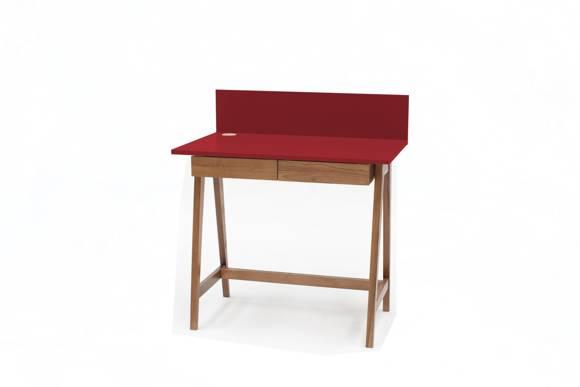LUKA Schreibtisch 85x50cm mit Schublade Eiche / Rot