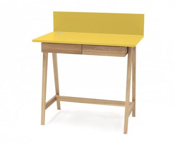 Luka Eschenholz Schreibtisch 110x50cm mit Schublade / Gelb