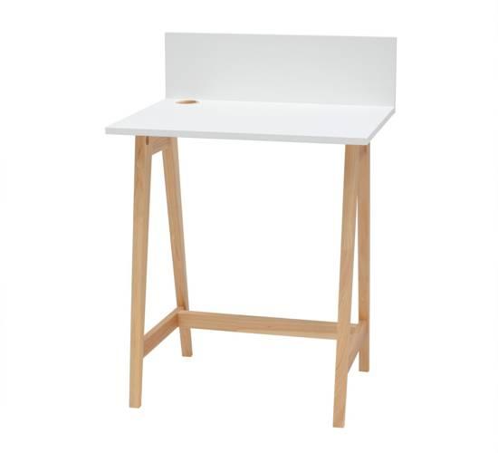 Luka Eschenholz Schreibtisch 65x50cm / Weiß