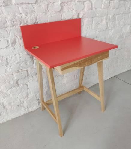 Luka Eschenholz Schreibtisch 65x50cm mit Schublade / Koralle