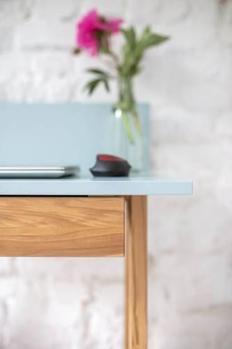 Luka Eschenholz Schreibtisch 65x50cm mit Schublade / Marineblau