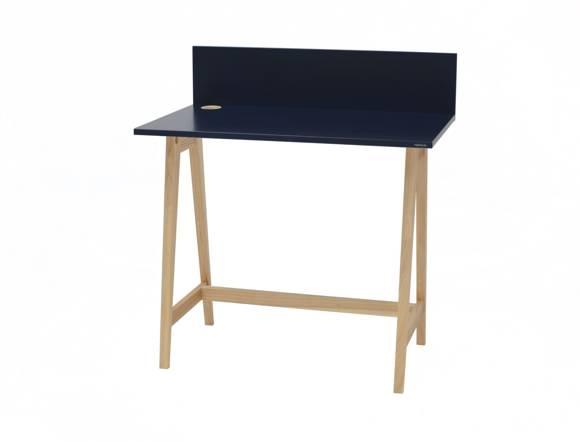 Luka Eschenholz Schreibtisch 85x50cm / Petrol Blue