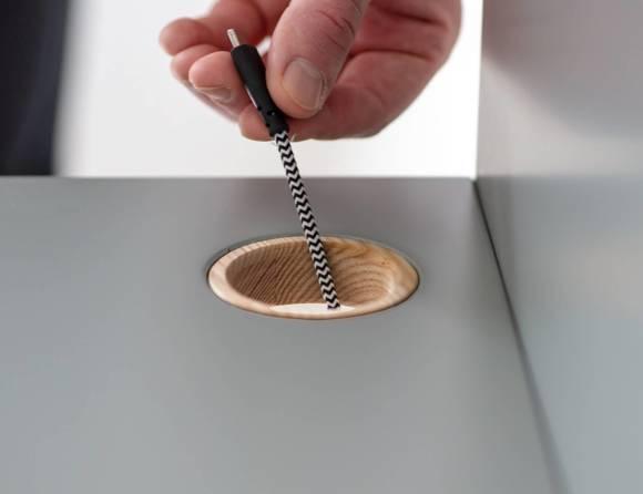 Luka Schreibtisch 65x50cm Eiche / Dunkelgrau