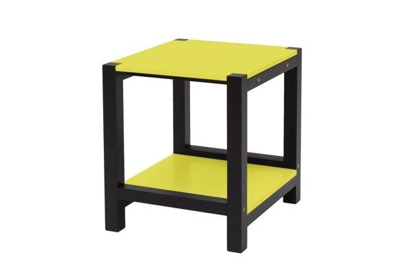 TRIVENTI Nachttisch Schemel - Gelb / Schwarze Beine