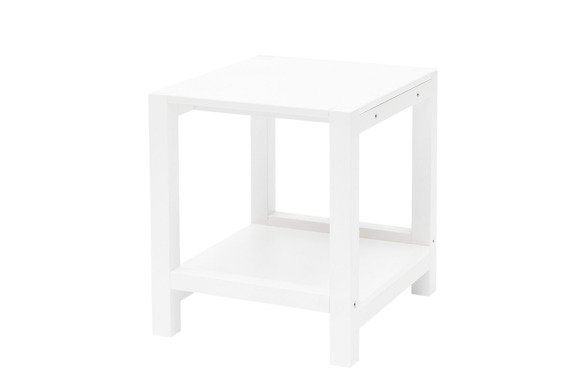TRIVENTI Nachttisch Schemel - Weiß / Weiß Beine