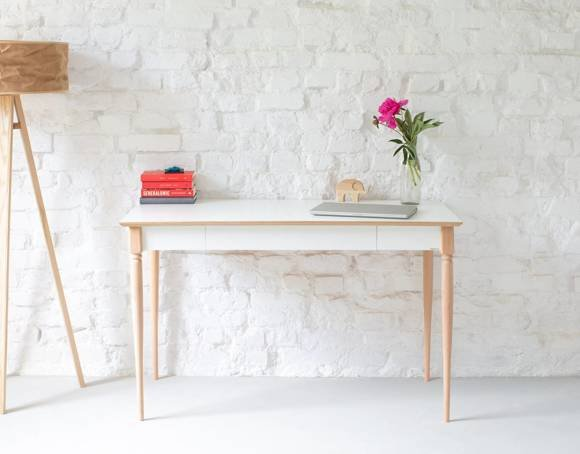 ToDoma Schreibtisch Breite 120 x Tiefe 58cm Gedrehtes Bein Weiß