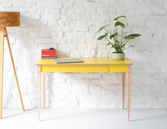ToDomi Schreibtisch Breite 120 x Tiefe 58cm Buchenholz Gelb